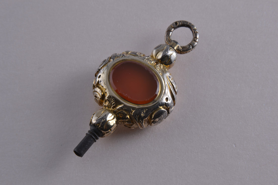Gold Cased Victorian Watch Key With Carnelian And Agate