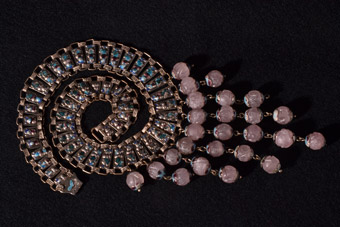 Silver And Enamel 1920's Oriental Necklace With Rose Quartz