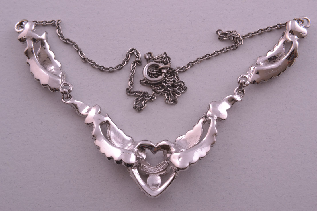 Rhodium Plated 1950 S Necklace With Marcasite Vintage