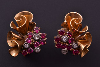 18ct Yellow Gold 1940's Retro Clip On Earrings With Rubies And Diamonds
