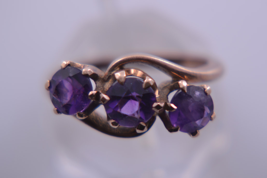 9ct Rose Gold 1940's Ring With Amethysts