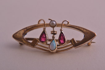 Gold Plated Art Nouveau Brooch With Opal And Pearl