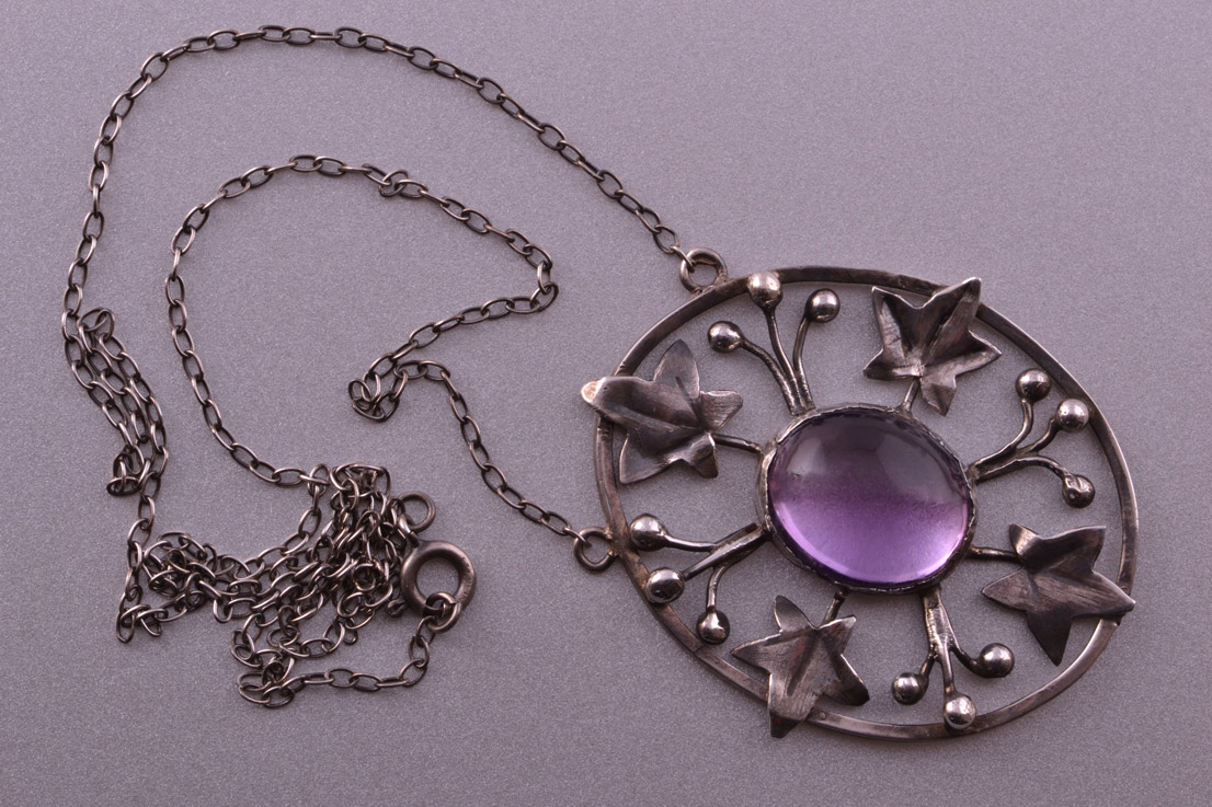Silver Arts And Crafts Necklace With An Amethyst