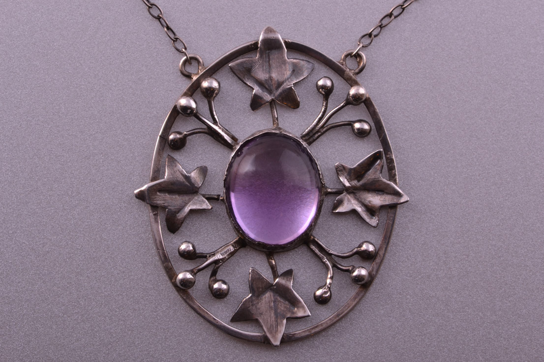Silver Arts And Crafts Necklace With Amethyst Antique