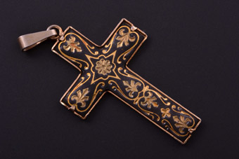 Gilt Vintage Spanish Damascene Cross