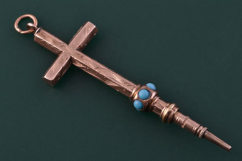 9ct Rose Gold Victorian Cross With Turquoise
