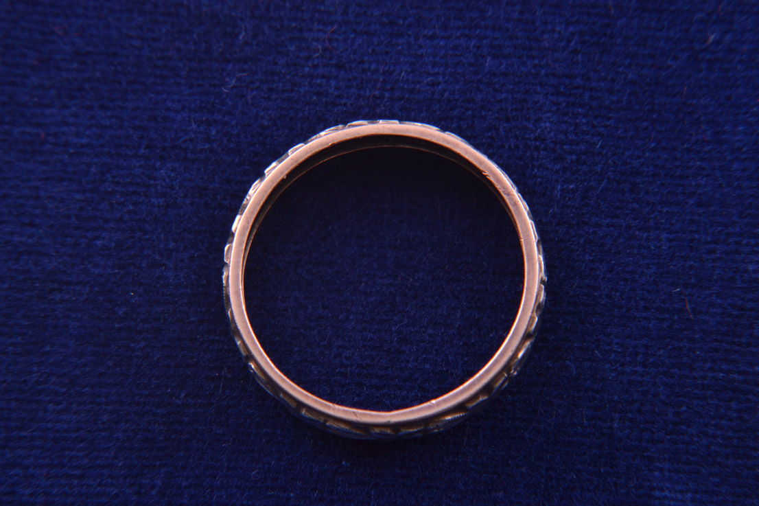 9ct Rose Gold And Silver Vintage Wedding Ring Vintage