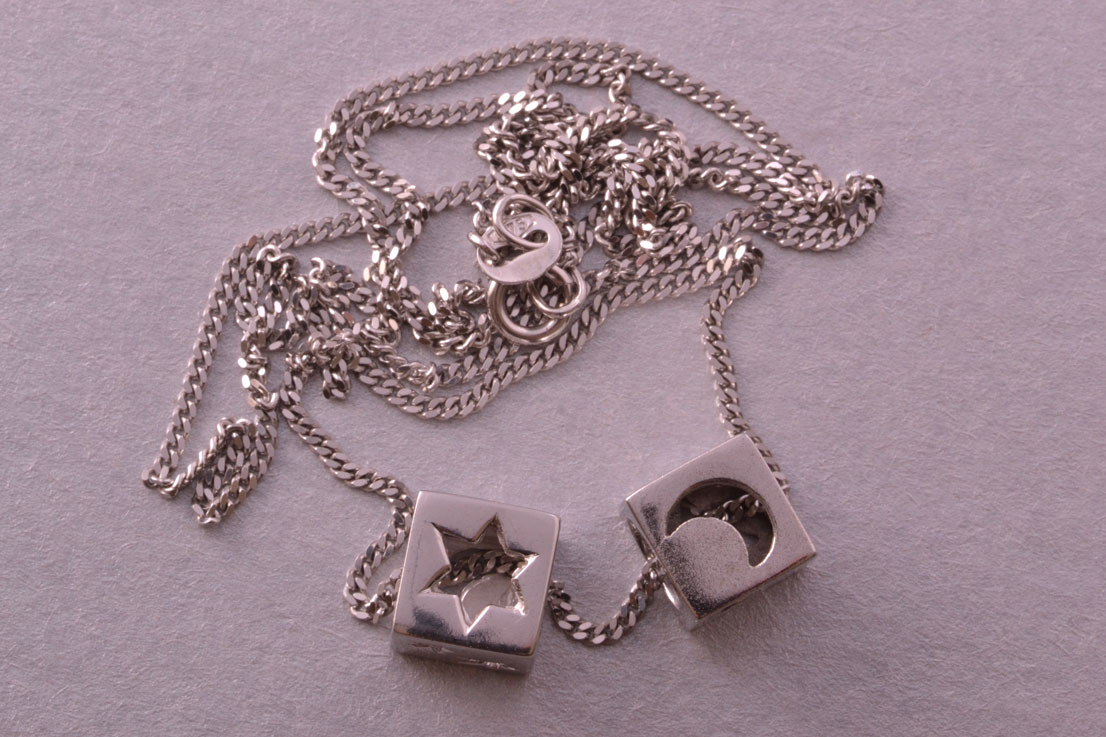 9ct White Gold Vintage Necklace With Charms
