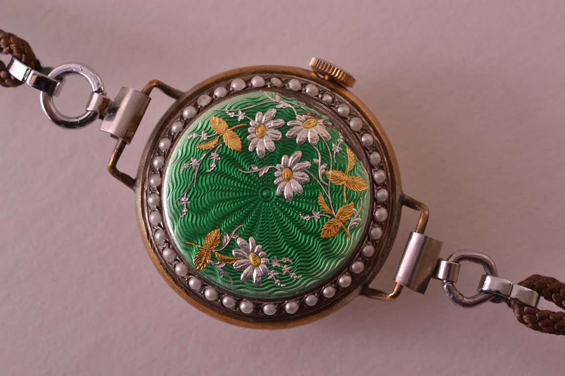 Enamel And Mother Of Pearl Watch With Pearls