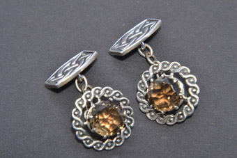 Silver Iona Cufflinks With Citrine From Scotland