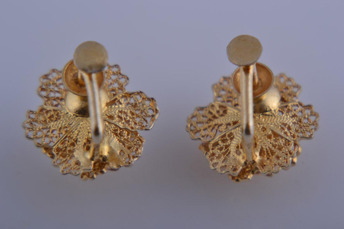 Silver Gilt Filigree Flower Screw On Earrings Jewellery