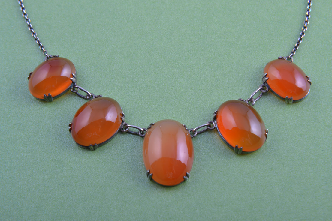 Silver Vintage Necklace With Carnelian