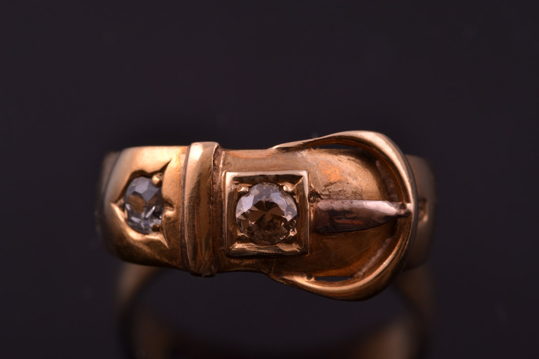 18ct Yellow Gold Victorian Buckle Ring With Diamonds
