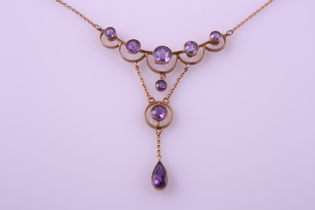 9ct Rose Gold Victorian Necklace With Amethysts