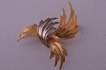 Rolled Gold Retro Two-Tone Brooch