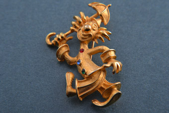 Gilt Clown Brooch