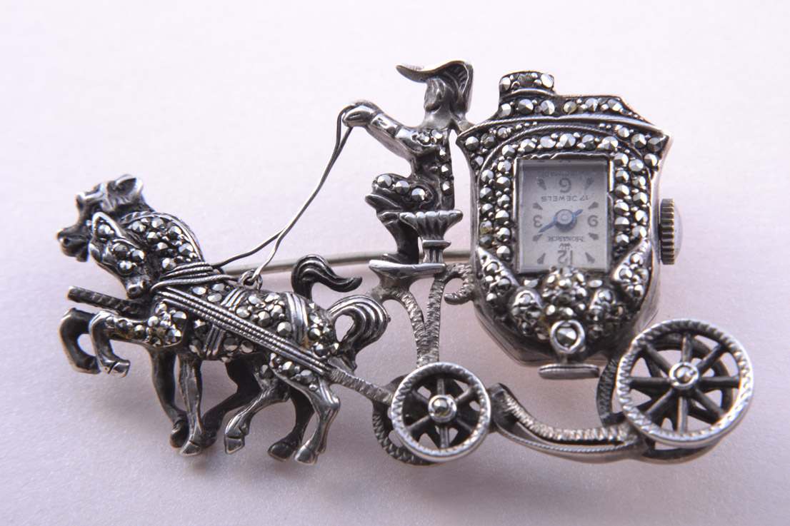 Silver 1950's Horse And Carriage Monarch Brooch / Watch With Marcasite