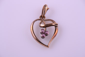 Gold Plated Vintage Witch's Heart Pendant With Pink Stones