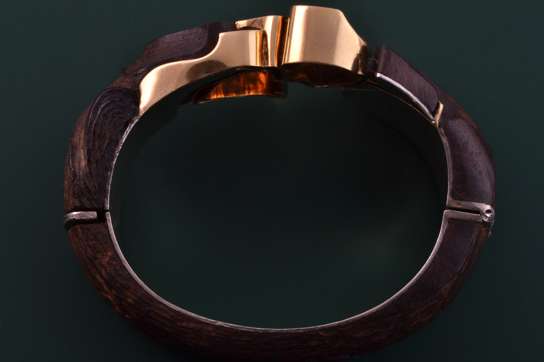 Modernist African Bangle With Gold Silver And Elephant