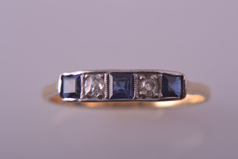 18ct Yellow Gold Vintage Ring With Blue Sapphires And Diamonds