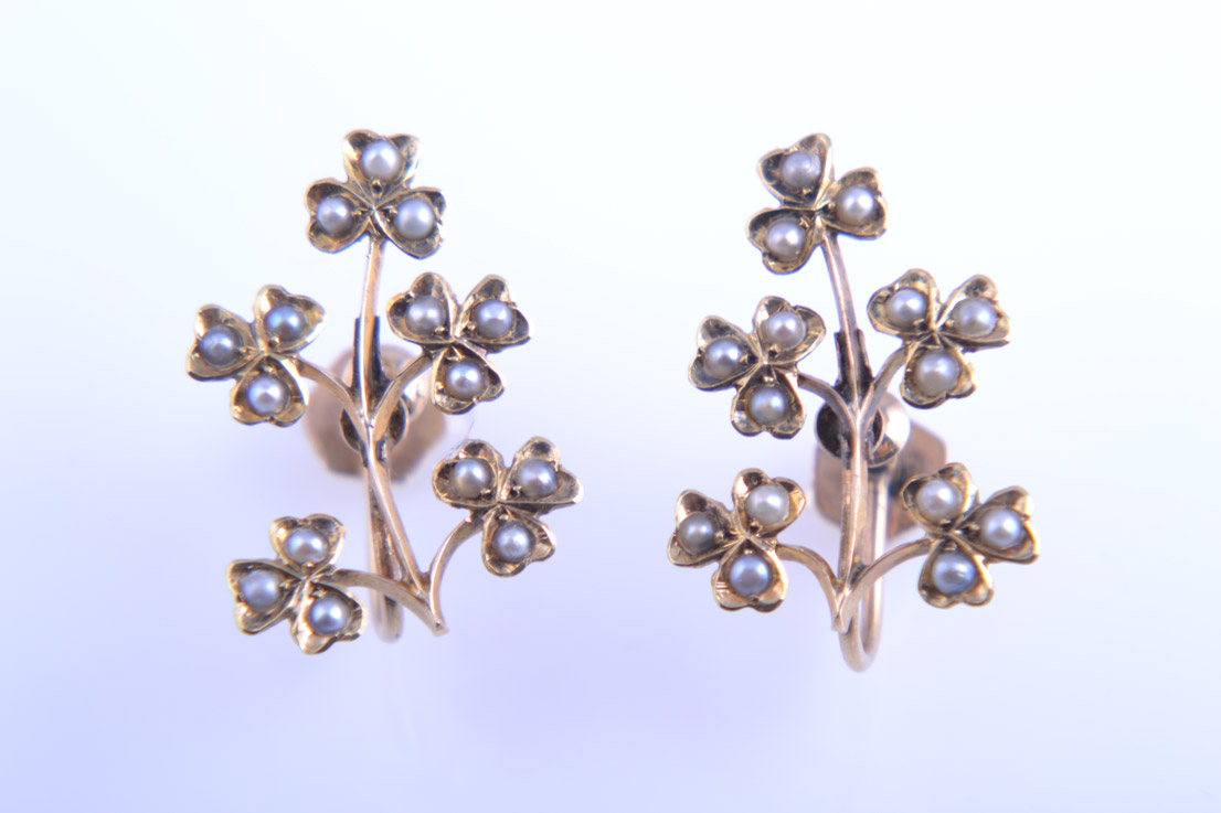 Gold 1940's Multi Clover Screw On Earrings With Seed Pearls