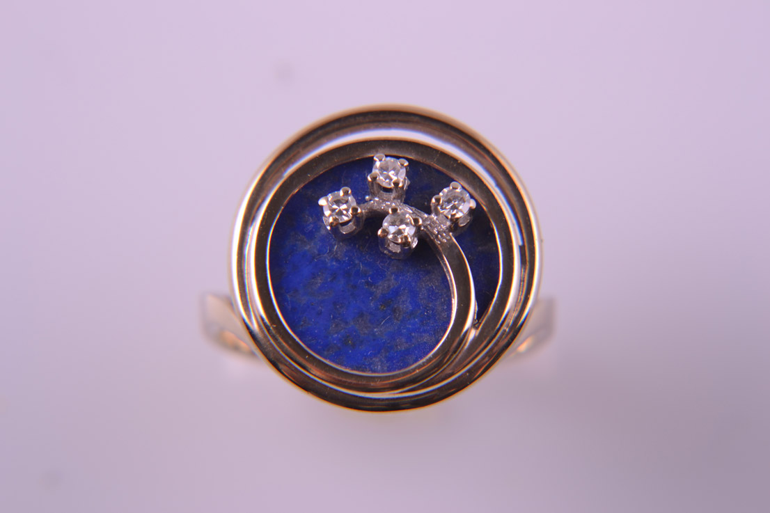 Yellow Gold 1960's Retro Ring With Lapis Lazuli And Diamonds