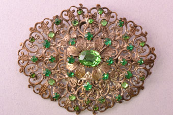 Vintage Czechoslovakian Filigree Brooch With Green Paste