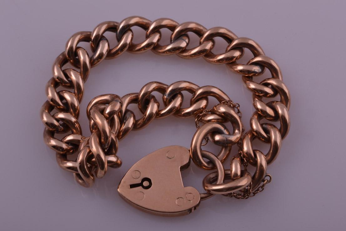 9ct Rose Gold Vintage Hollow Curb Link Bracelet Vintage