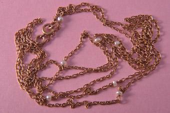 9ct Rose Gold Victorian Muff Chain With Pearls