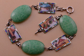 Silver 1920's Egyptian Bracelet With Peking Glass And Enamel
