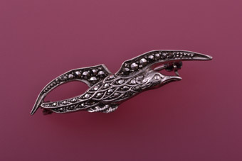 Silver Vintage Bird Brooch With Marcasite