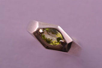 Silver Modern Ring With Peridot