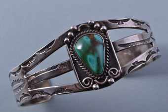 Silver Native American Navajo Cuff / Bangle With Turquoise