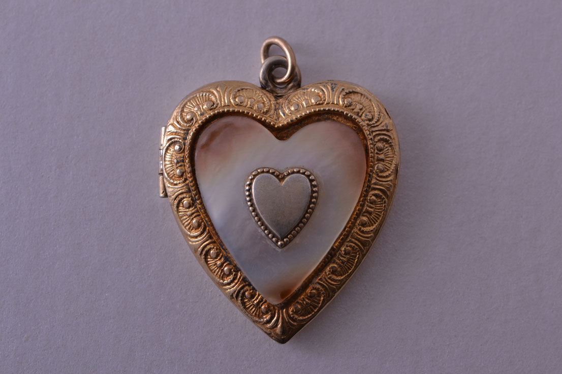 Gold Plated Silver Vintage Opening Heart Locket With Mother Of Pearl