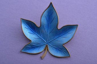 Silver Gilt And Enamel Retro Leaf Brooch From Denmark