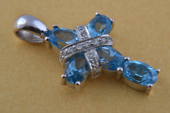 18ct White Gold Modern Cross With Topaz And Diamonds