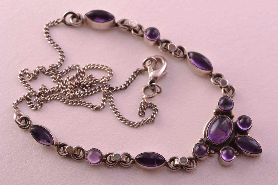 Silver Modern Necklace With Amethysts