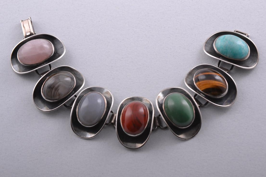 Silver Retro Bracelet With Semi Precious Stones Retro