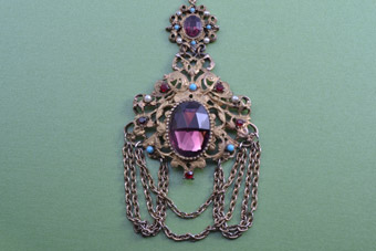 Gilt Vintage Pendant With Coloured Paste And Faux Pearls
