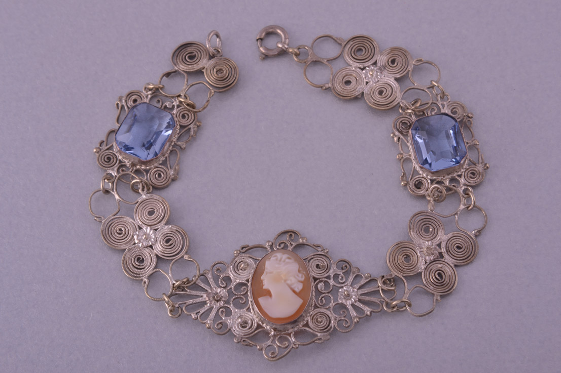 Vintage Filigree Bracelet With A Carved Cameo Vintage