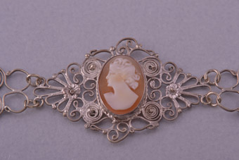 Antique Cameo With Diamond Necklace