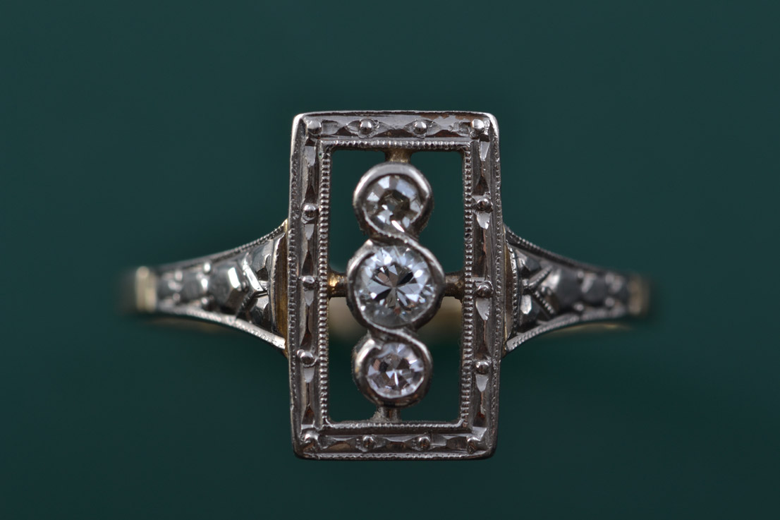 18ct Yellow And White Gold 1920's Art Deco Ring With Diamonds