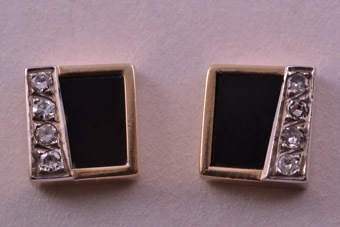 14ct Gold 1960's Retro Stud Earrings With Onyx And Diamonds