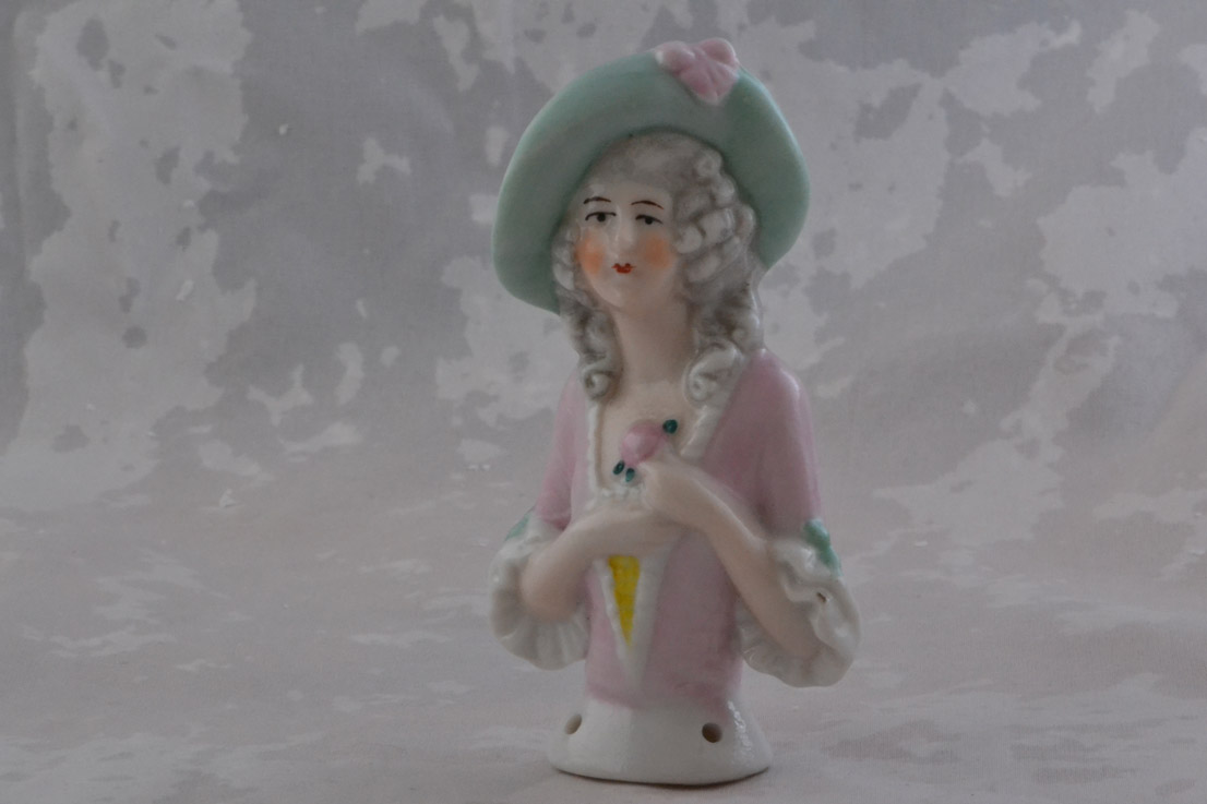 Vintage China Pincushion Doll In Pastel Colours