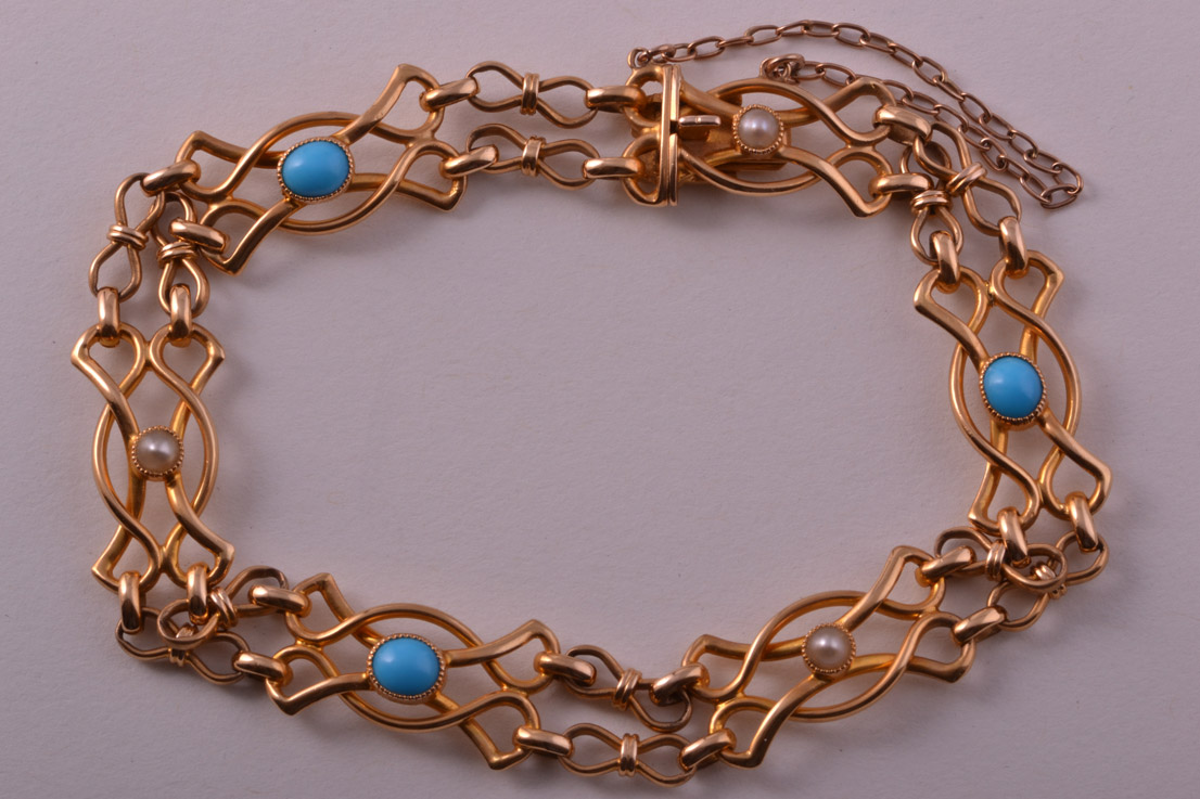 18ct Yellow Gold Antique Bracelet With Turquoise And Pearls