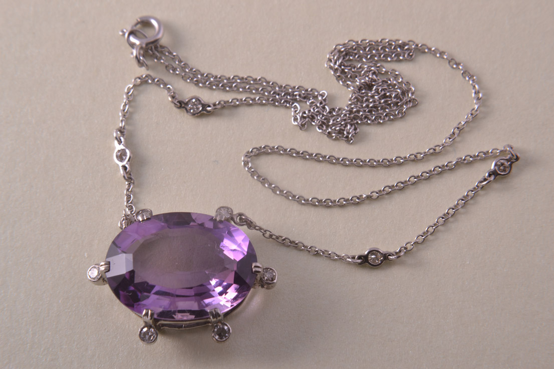 9ct White Gold Necklace With A Large Amethyst And 10 Diamonds