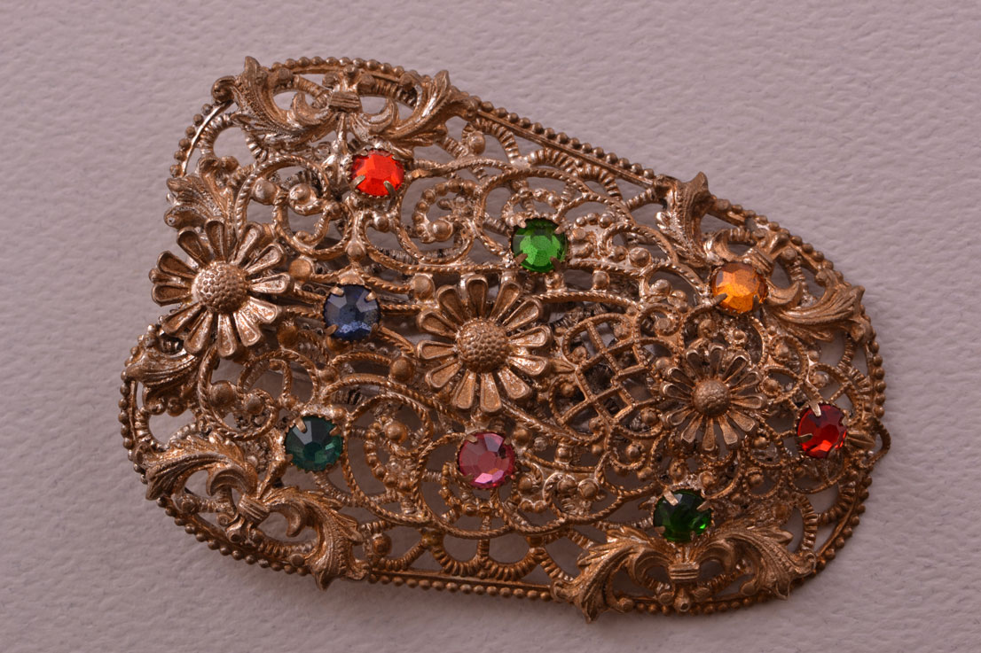 Gilt Vintage Dress Clip With Coloured Paste