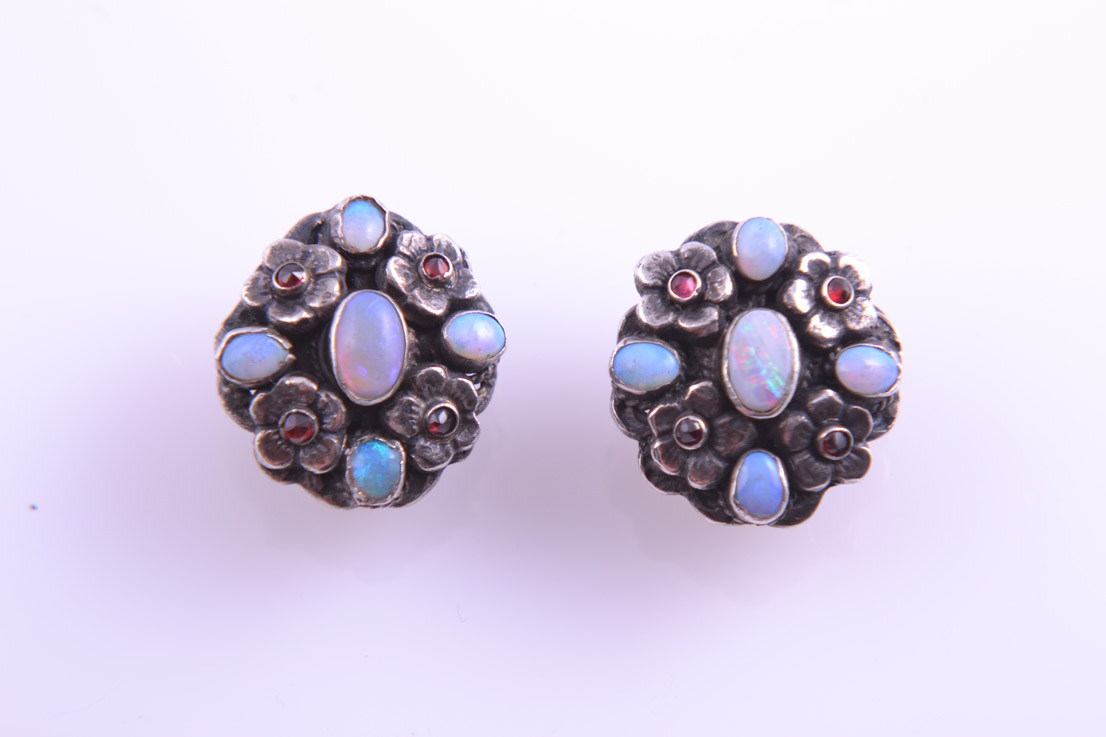 Silver Austro-Hungarian Clip On Earrings With Opals