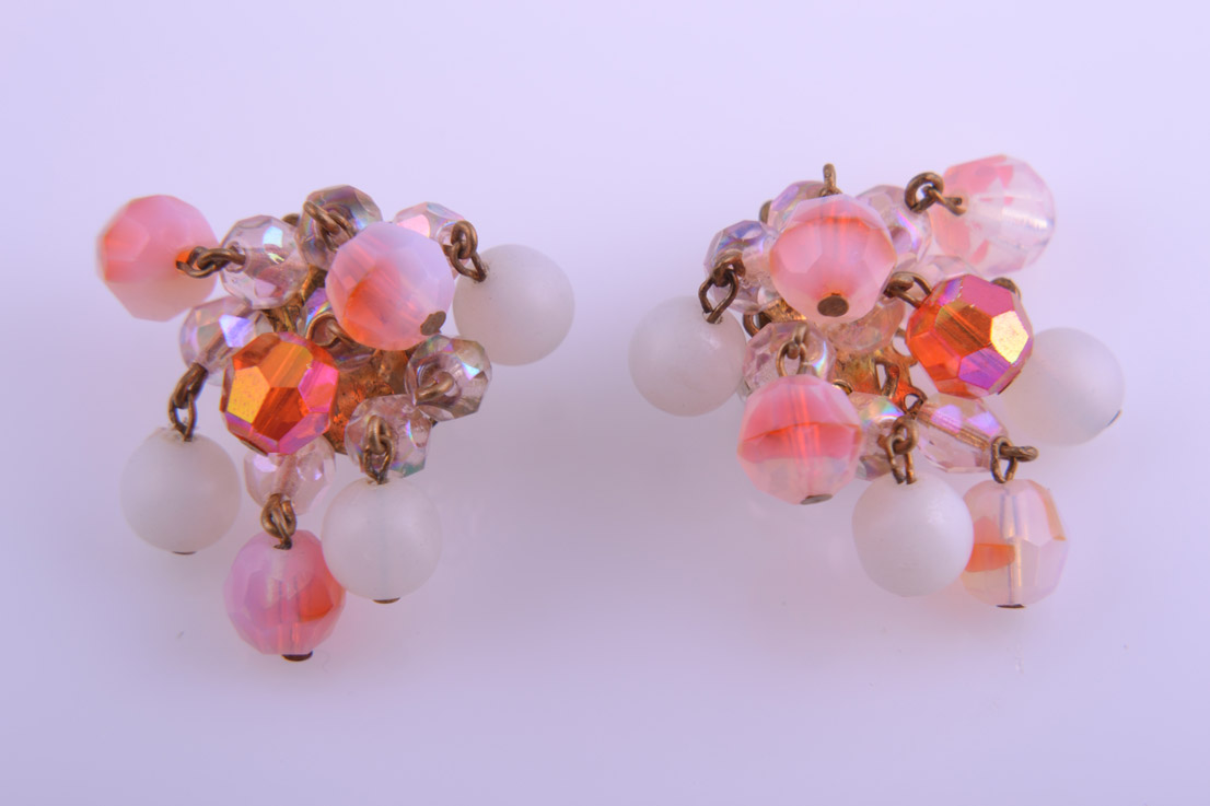 1950's Clip On Earrings With Pink Crystal Beads