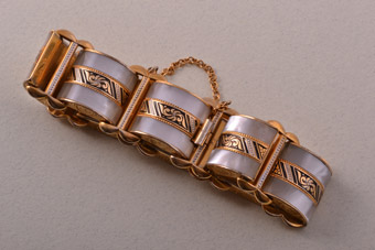 Damascene And Gilt Vintage Spanish Bracelet